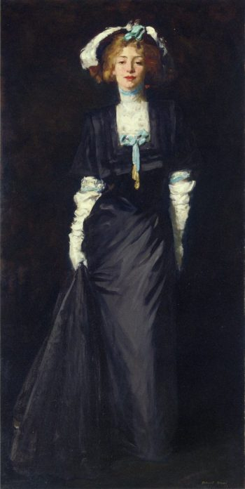 Jessica Penn in Black with White Plumes | Robert Henri | oil painting
