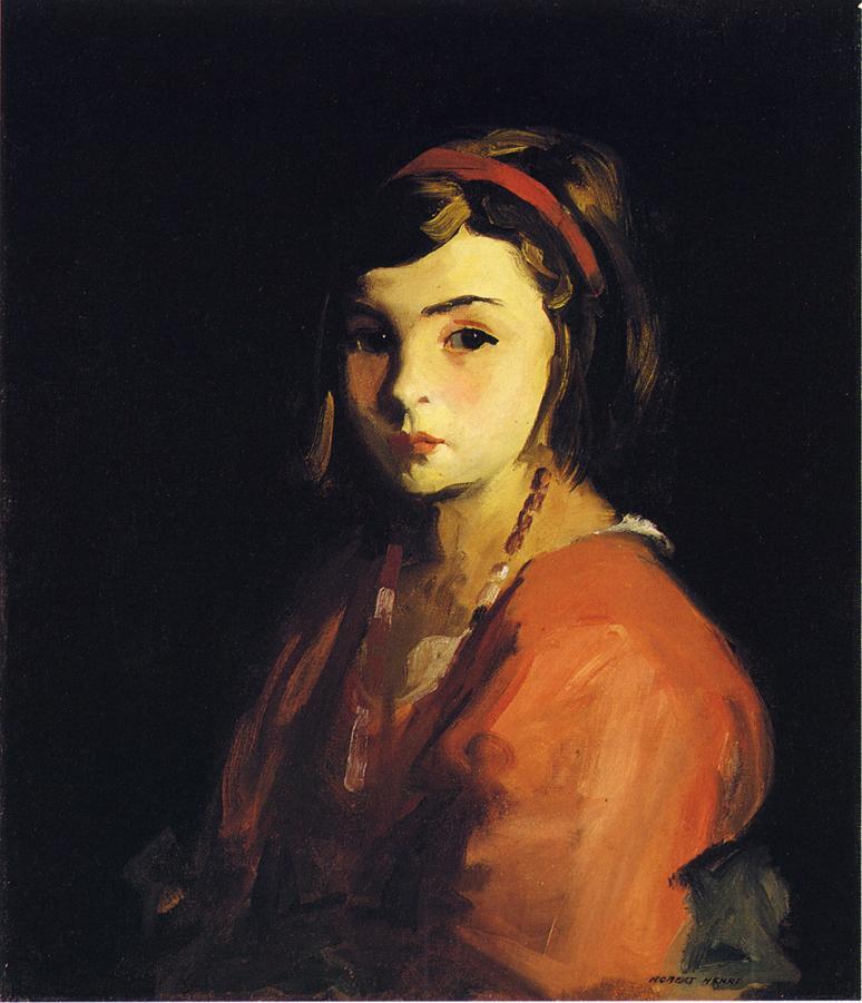 Little Girl in Red | Robert Henri | oil painting