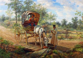 At the Watering Trough | Edward Lamson Henry | oil painting