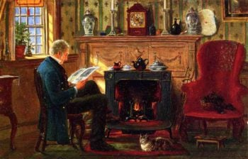 Examining Illustrations by the Fire | Edward Lamson Henry | oil painting