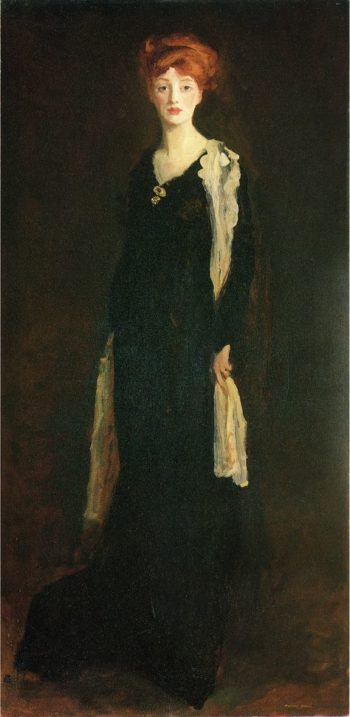 O in Black with Scarf (also known as Marjorie Organ Henri) | Robert Henri | oil painting