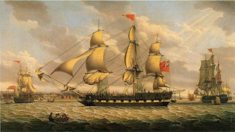 British Merchantman in the River Mersey off Liverpool   Robert Salmon   oil painting
