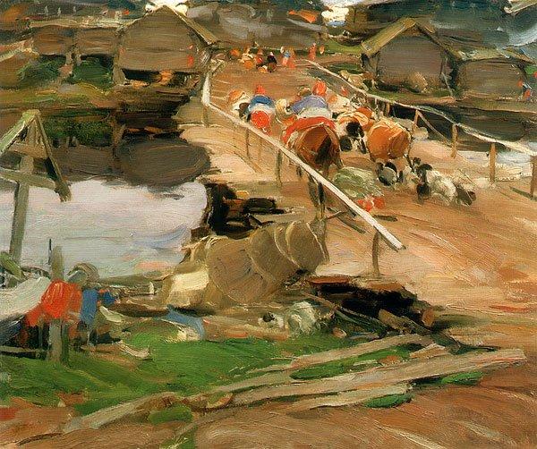 Morning in the Village Bridge 1911 | Abram Arkhipov | oil painting