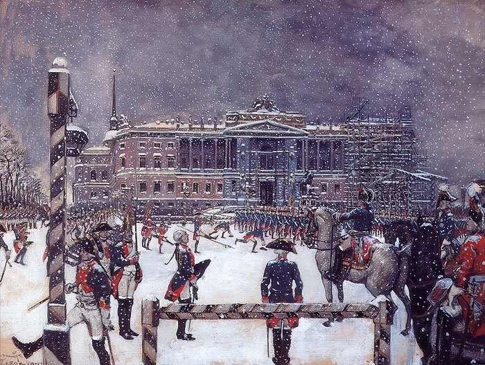 Parade under Paul I 1907 | Alexander Benois | oil painting
