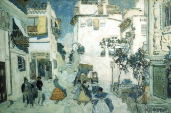 Street in Seville Set Design 1908 | Alexander Golovin | oil painting