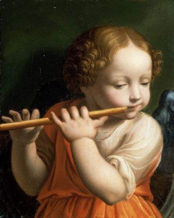 Child Angel playing a flute | Bernardino Luini | oil painting