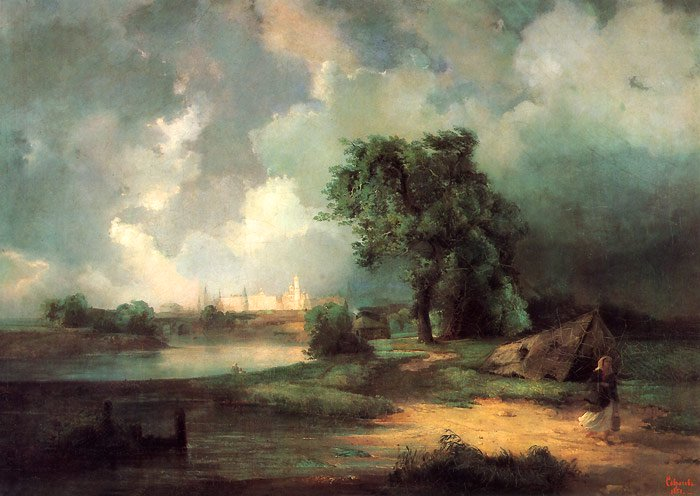 View on the Kremlin in Stormy Weather 1851 | Alexey Savrasov | oil painting