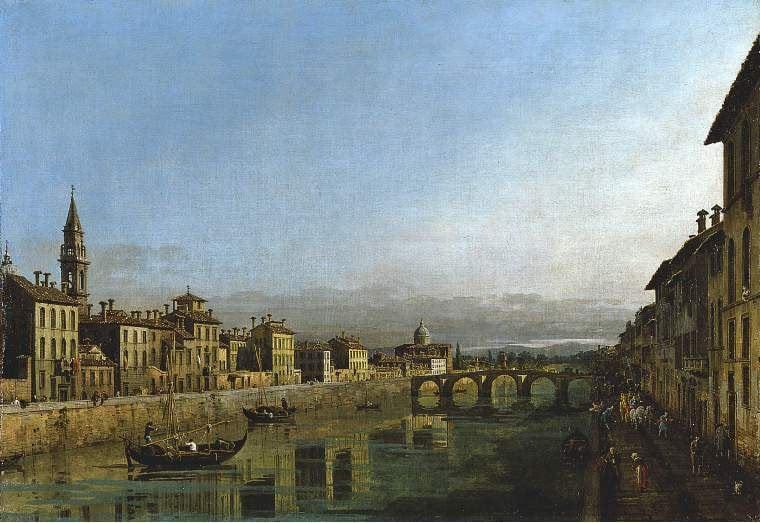 The Arno in Florence with the Ponte Alla Carraia | Bernardo Bellotto | oil painting