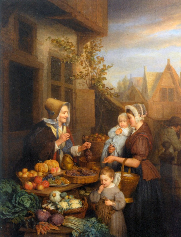 At The Vegetable Market | Frans Josef Luckx | oil painting