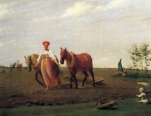 Out in the Field Spring 1820s | Alexey Venetsianov | oil painting