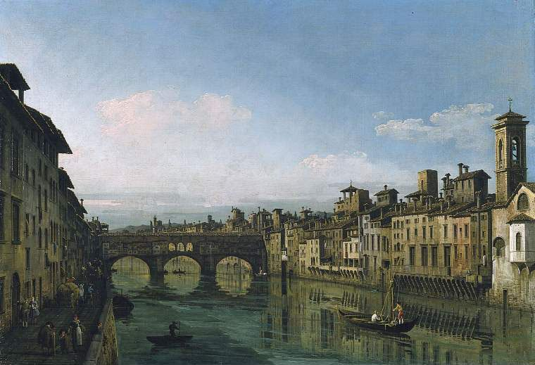 The Arno in Florence with the Ponte Vecchio | Bernardo Bellotto | oil painting