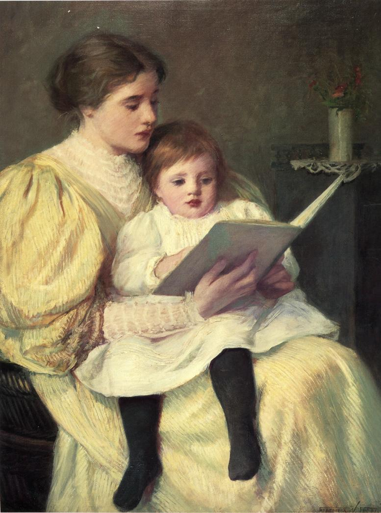 Mother and Child Reading | Frederick Warren Freer | oil painting