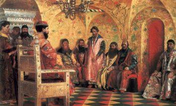 Tsar Mikhail Fedorovich Sitting with Boyars 1893 | Andrey Ryabushkin | oil painting