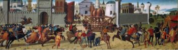 The Siege of Troy   The Wooden Horse | Biagio d'Antonio da Firenze | oil painting