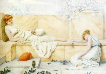 Two Classical Figures Reclining | henry ryland | oil painting