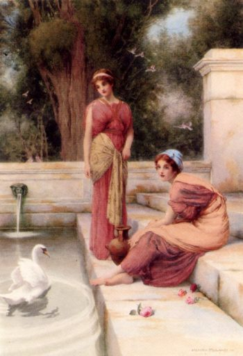 Two Classical Maidens And A Swan | henry ryland | oil painting
