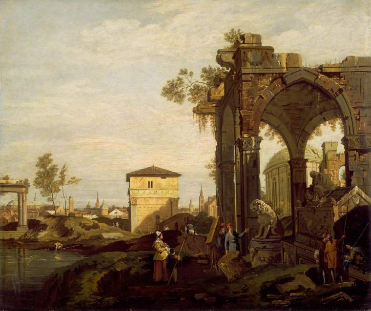Ruins with figures | Canaletto (Giovanni Antonio Canal) | oil painting