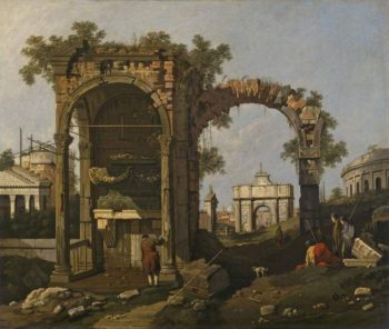 Ruins with figures 1 | Canaletto (Giovanni Antonio Canal) | oil painting