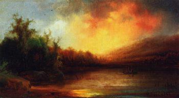 Lake Scene   Hermann Fuechsel   oil painting