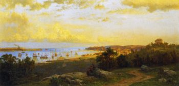 Panoramic River View   Hermann Fuechsel   oil painting