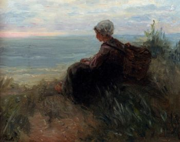 A Fishergirl On A Dunetop Overlooking The Sea | Jozef Israels | oil painting