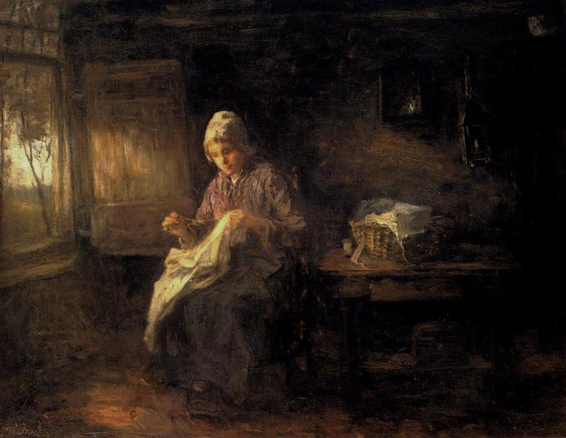 A Woman Sewing | Jozef Israels | oil painting