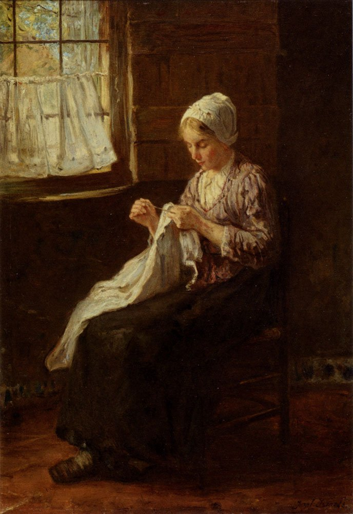 Mendin By A Window | Jozef Israels | oil painting