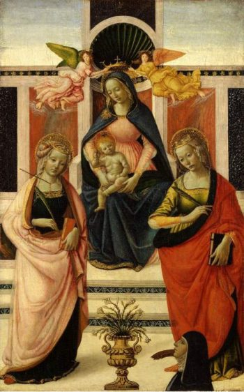Virgin and Child enthroned between St Ursula and St Catherine | Davide Ghirlandaio | oil painting
