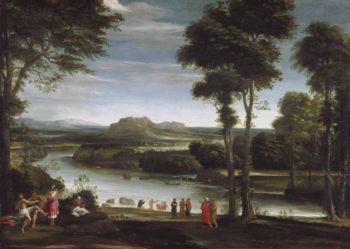 Landscape with St John baptising   Domenichino (Domenico Zampieri)   oil painting