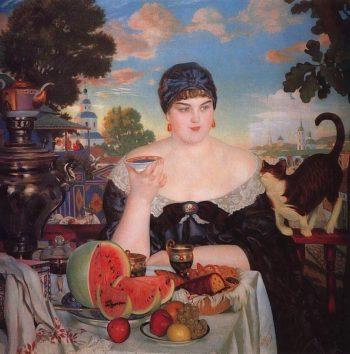 Merchant's Wife Having Tea 1918 | Boris Kustodiev | oil painting
