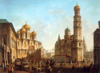 The Cathedral Square in the Moscow Kremlin | Fyodor Alexeyev | oil painting