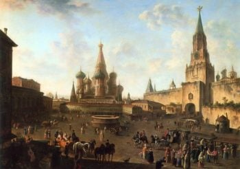 The Red Square in Moscow 1801 | Fyodor Alexeyev | oil painting