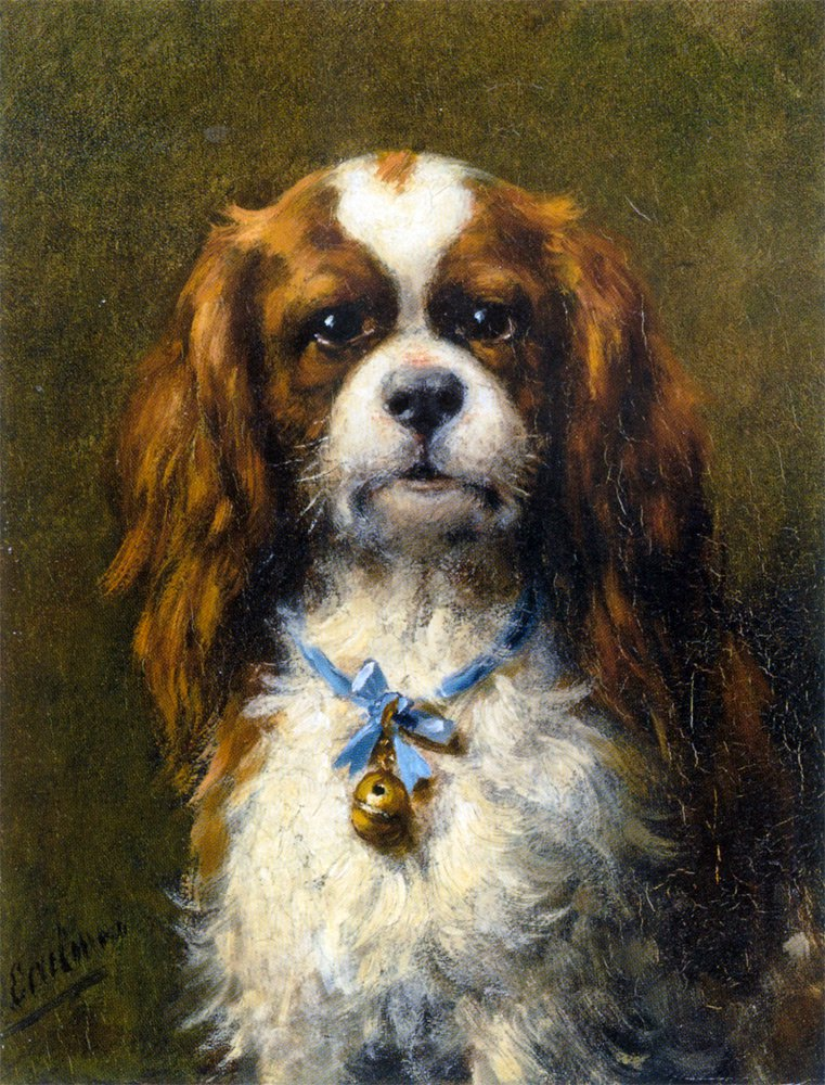 A King Charles Spaniel with a Blue Ribbon | Otto Erelman | oil painting