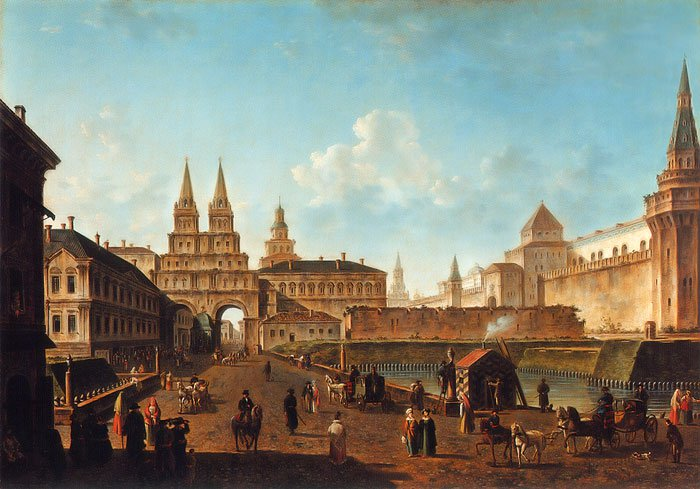 View on the Resurrection Gates in Moscow 1811 | Fyodor Alexeyev | oil painting