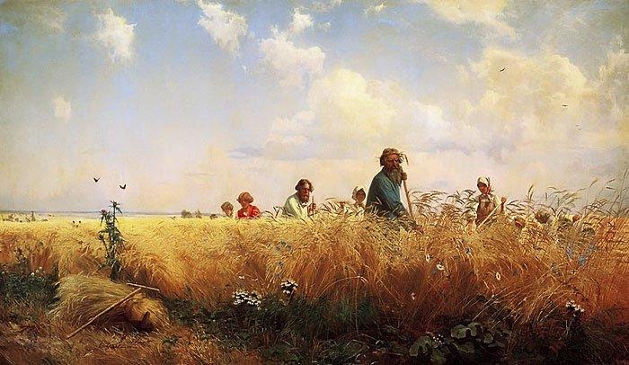 Harvest Time Mowers 1873   Grigory Myasoedov   oil painting