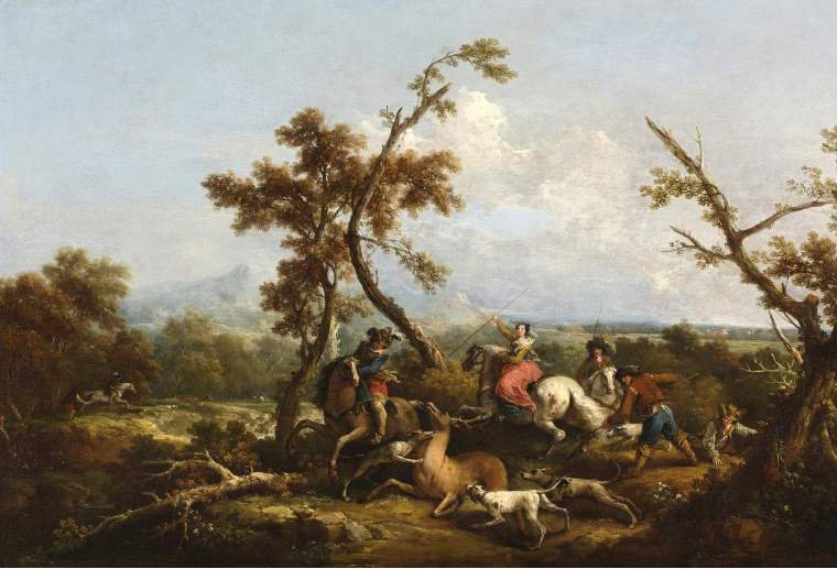 Stag hunt | Francesco Zuccarelli | oil painting