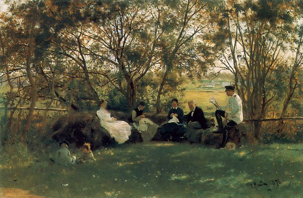 On the Turf Bed 1876 | Ilya Repin | oil painting
