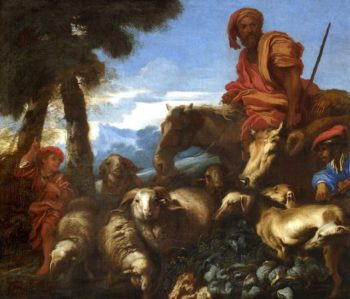 Abraham journeying to the land of Canaan | Giovanni Benedetto Castiglione(il Grechetto) | oil painting
