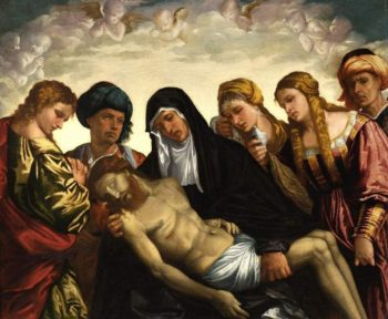 Lamentation over The Dead Christ | Giovanni da Brescia | oil painting