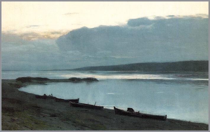 Evening on the Volga | Isaak Levitan | oil painting