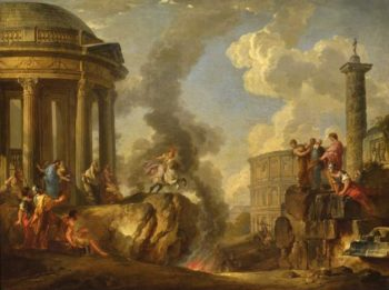 Marcus Curtius leaping into the gulf | Giovanni Paolo Pannini | oil painting