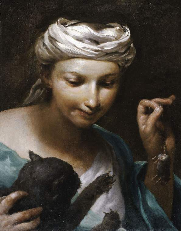 Girl with a cat | Giuseppe Maria Crespi(lo Spagnuolo) | oil painting