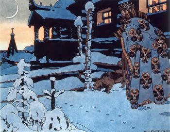Tsar Saltan Eavesdropping 1905 | Ivan Bilibin | oil painting
