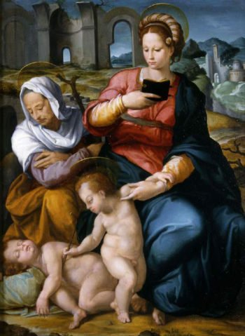 The Virgin and Child with St Elizabeth and the infant Baptist | Jacopino del Conte | oil painting