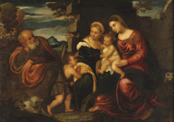 Holy Family with the infant St John Baptist and St Catherine | Polidoro da Lanciano | oil painting