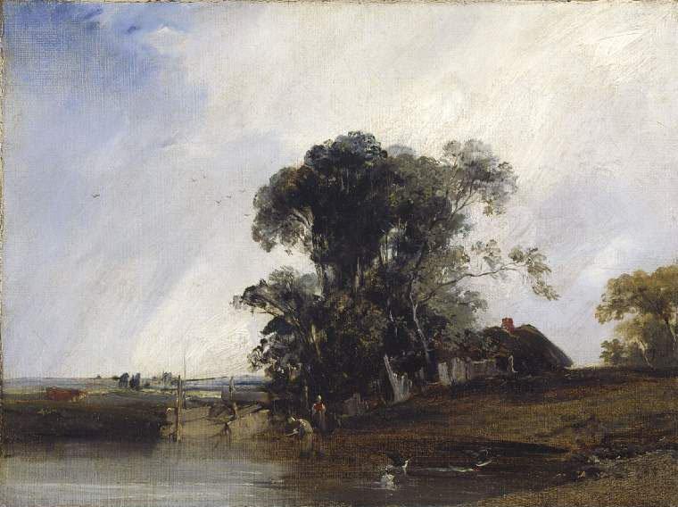 Landscape with a pond | Richard Parkes Bonington | oil painting