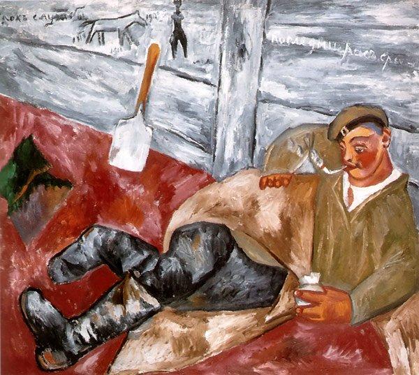 Soldier at Rest 1911 | Mikhail Larionov | oil painting
