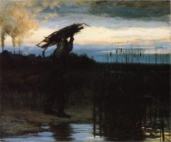 Man Carrying Sticks at Dusk | William Gilbert Gaul | oil painting