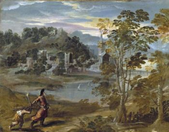 Landscape with Abraham and Isaac | Scarsellino (Ippolito Scarsella) | oil painting