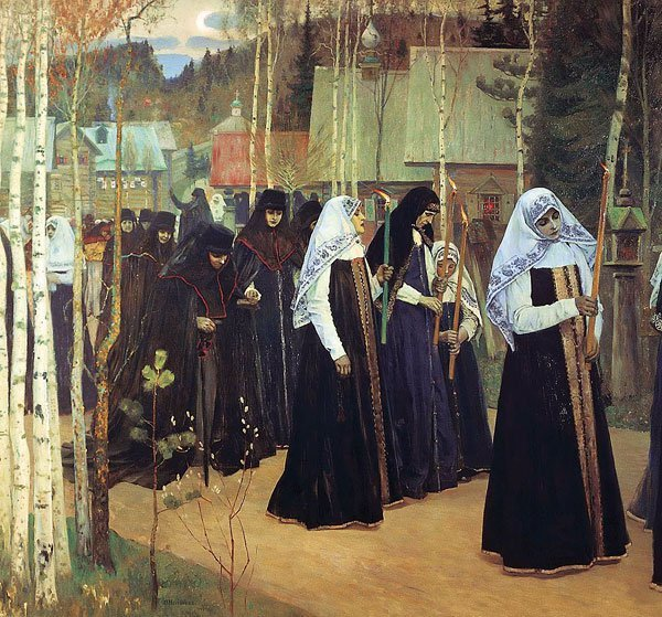 The Great Initiation 1898   Mikhail Nesterov   oil painting